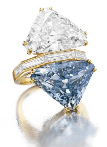 BVLGARI Blue Diamond, largest triangular-shaped fancy vivid blue diamond ever to appear at auction
