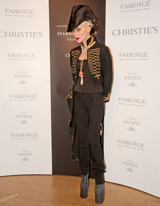Daphne Guinness wears Fabergé at Private View of her Collection