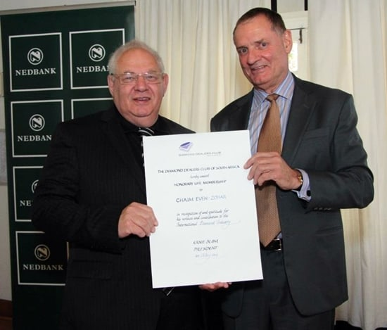 Chaim Even-Zohar awarded Honorary Life Membership of Diamond Dealers Club of South Africa