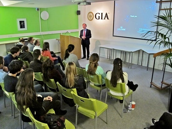 Diamonds author Marijan Dundek addresses students at GIA London