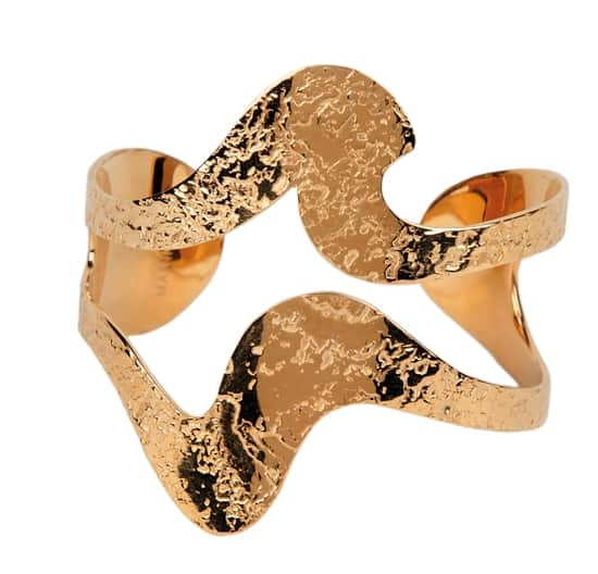Cuff-Black Waves cuff available in 22ct Gold Plated Etched Brass or Etched Brass and Black Paint