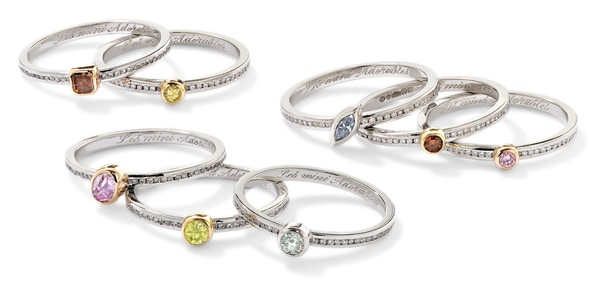 Les Mini Adorables, bespoke collection, natural fancy coloured diamond specialist Yves Frey, diamond-encrusted jewels