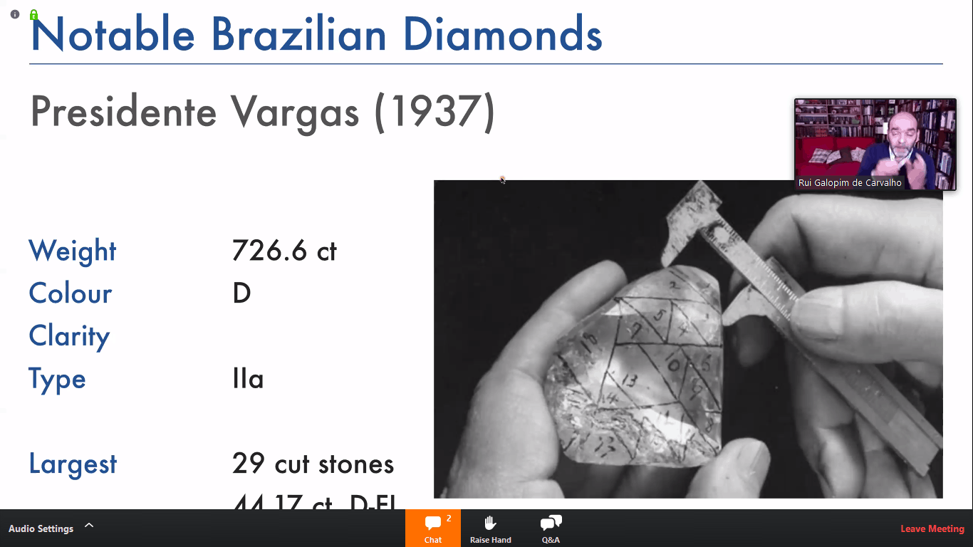 Gemmologist in webinar for locked down gem aficionados outlines Brazil's diamond history