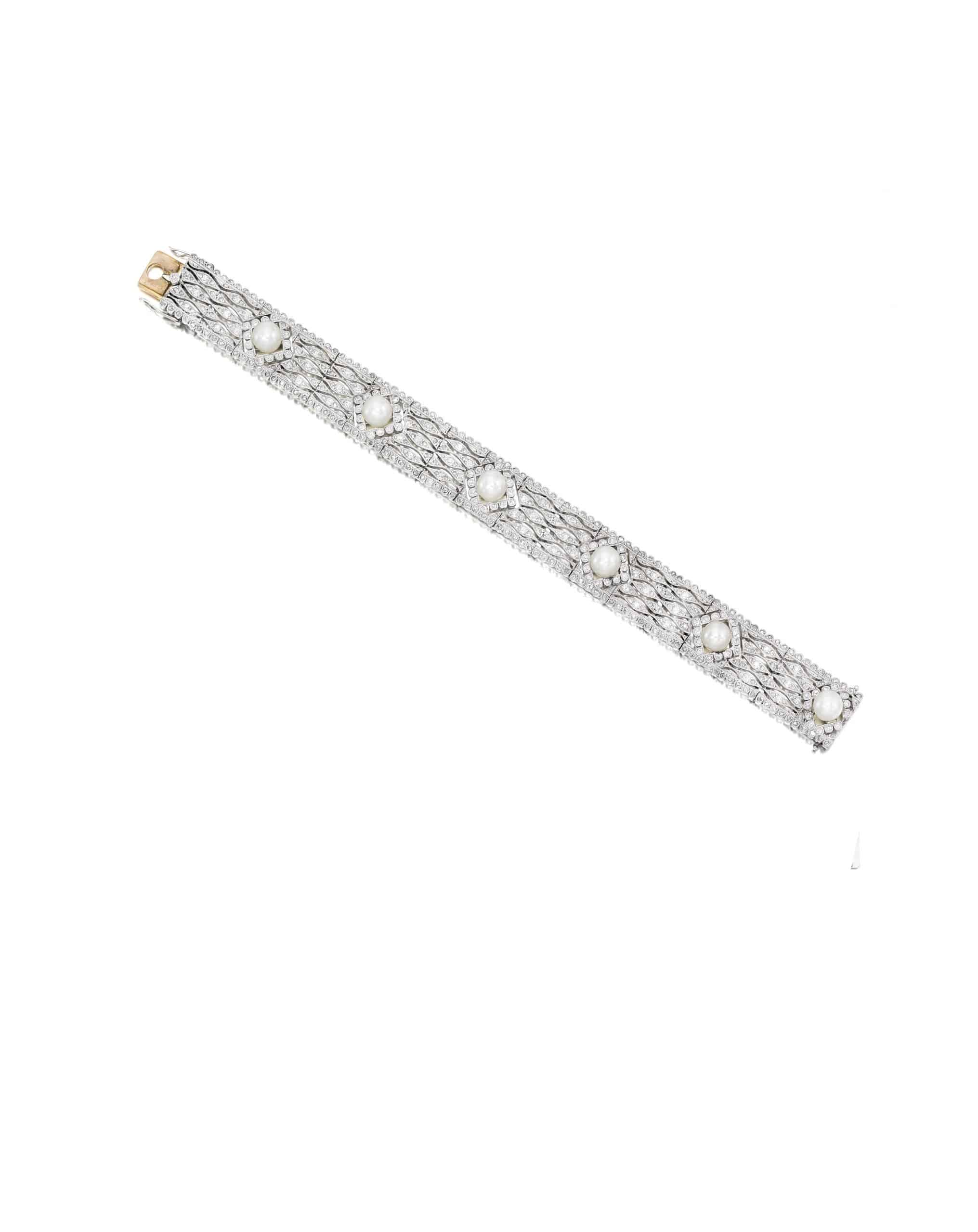 platinum, diamond and cultured pearl bracelet