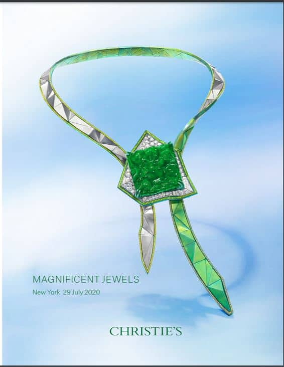 Anna Hu Sky Tower Jadeite Necklace graces catalogue cover at New York Christie's