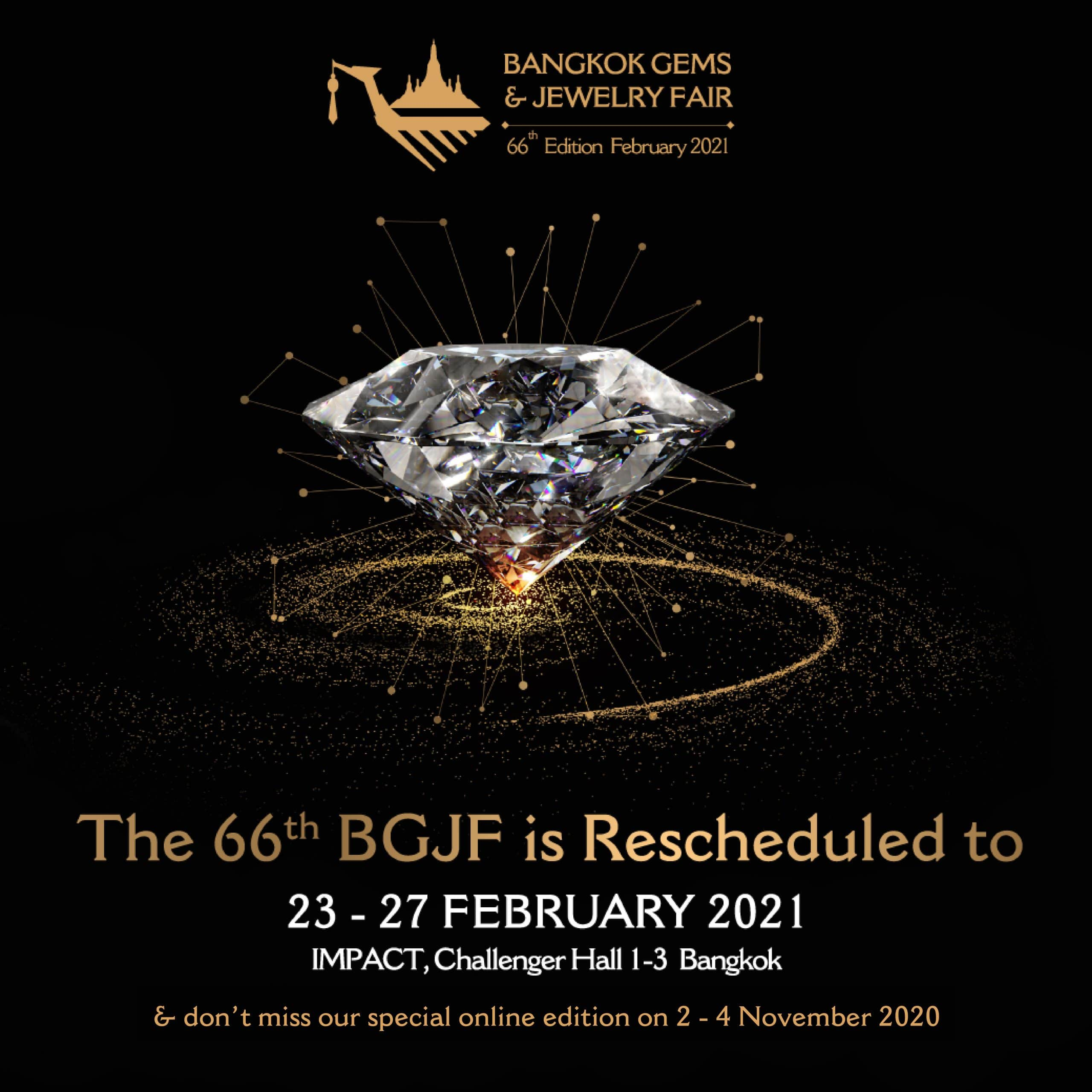 Rescheduling of September Bangkok Gems and Jewelry Fair to February 2021, Online Edition to be launched in November 2020