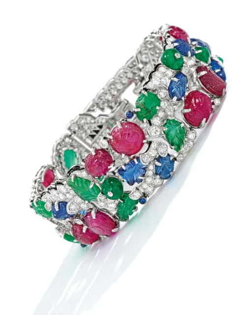 gem-set, diamond and enamel 'tutti frutti' bracelet, cartier, estimate $600-800,000-1