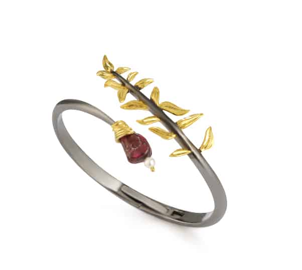Artemisia Sterling Silver With Garnet Bangle