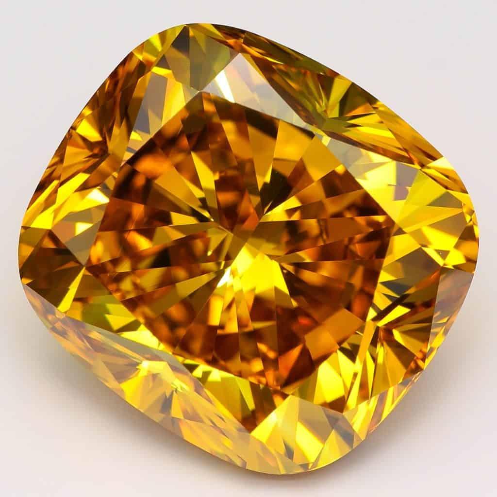 bright yellow extra large single-crystal diamond