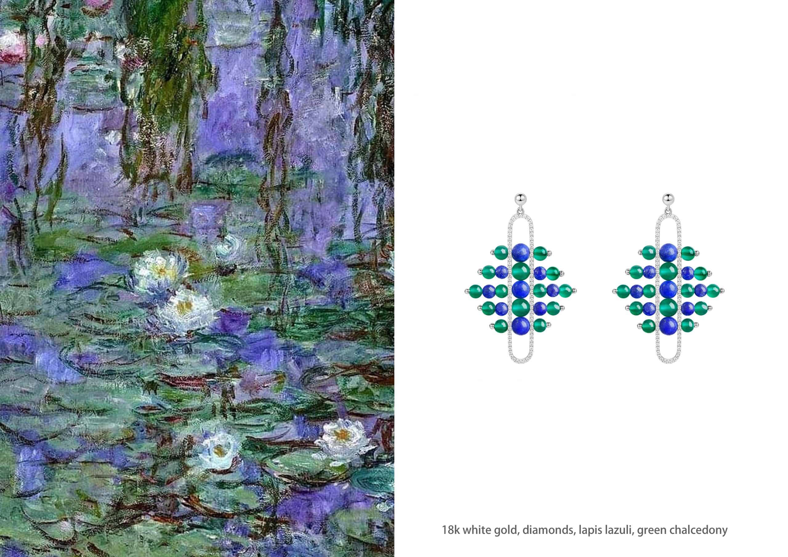 18kt White Gold Lapis Lazuli,Aquamarine,blue, green and yellow Chalcedony, Akoya Pearl