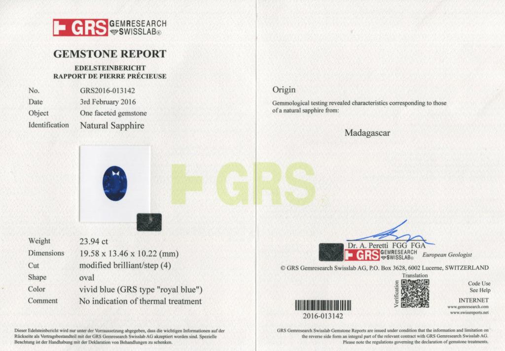 GRS sapphire certificate