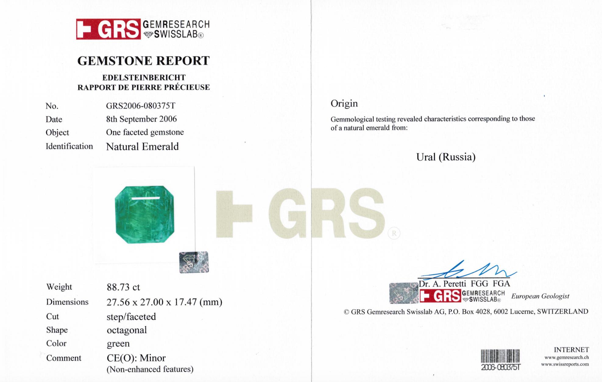 Gembridge Emerald Certificate