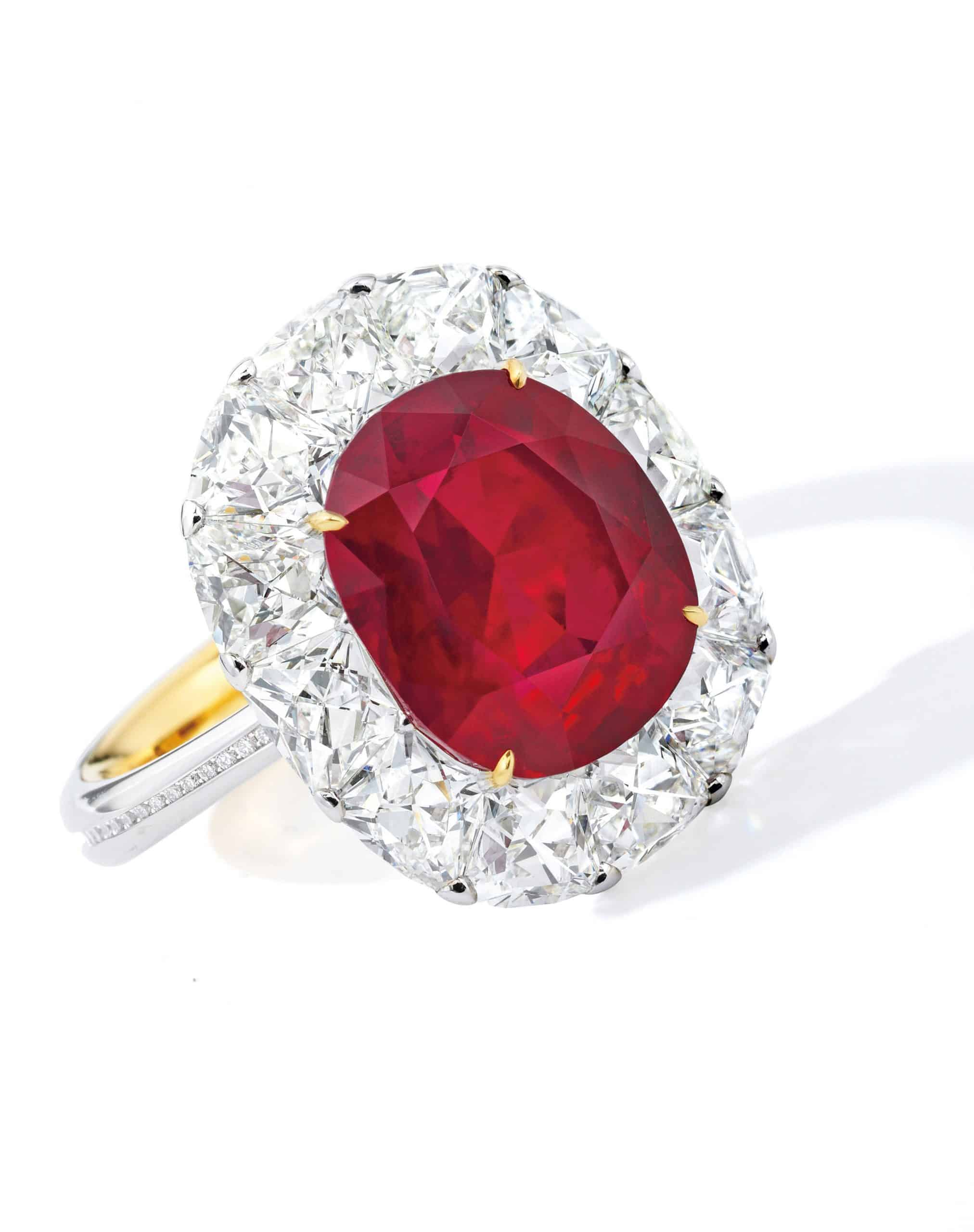 6.41-carat untreated Burmese ruby and diamond ring
