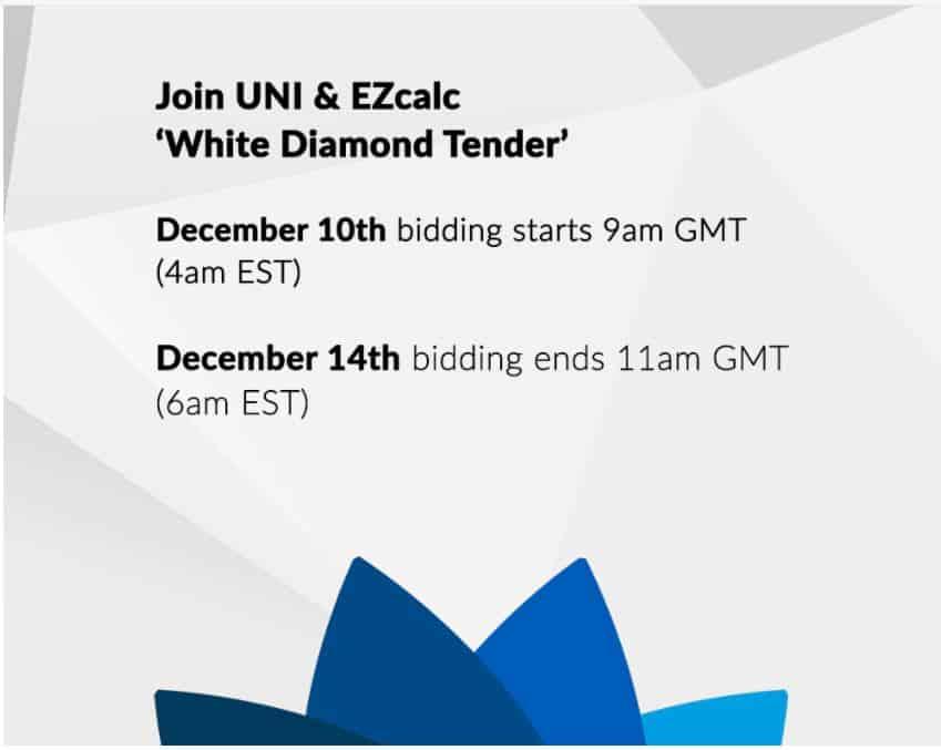 UNI & EZcalc White Diamond Tender