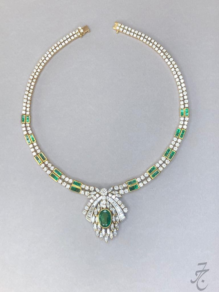 vintage diamonds and Colombian emeralds necklace