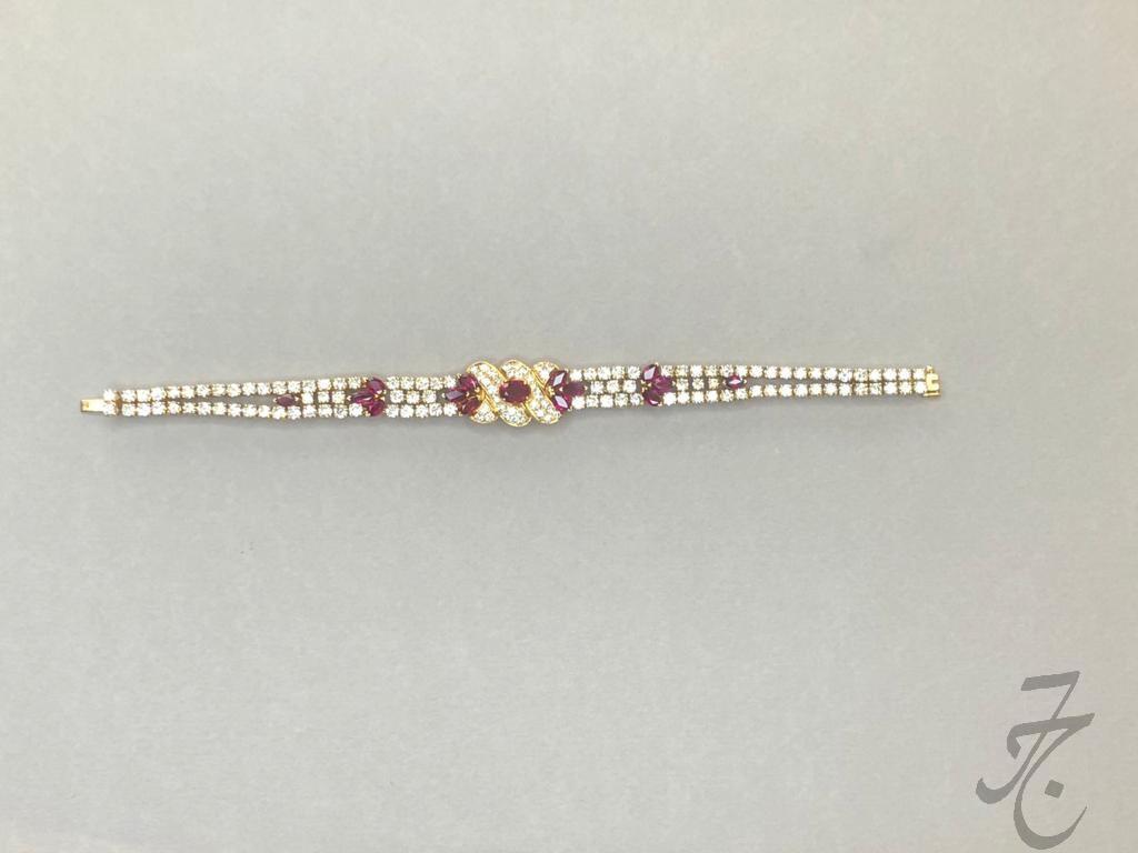 dazzling diamonds and Siam rubies bracelet