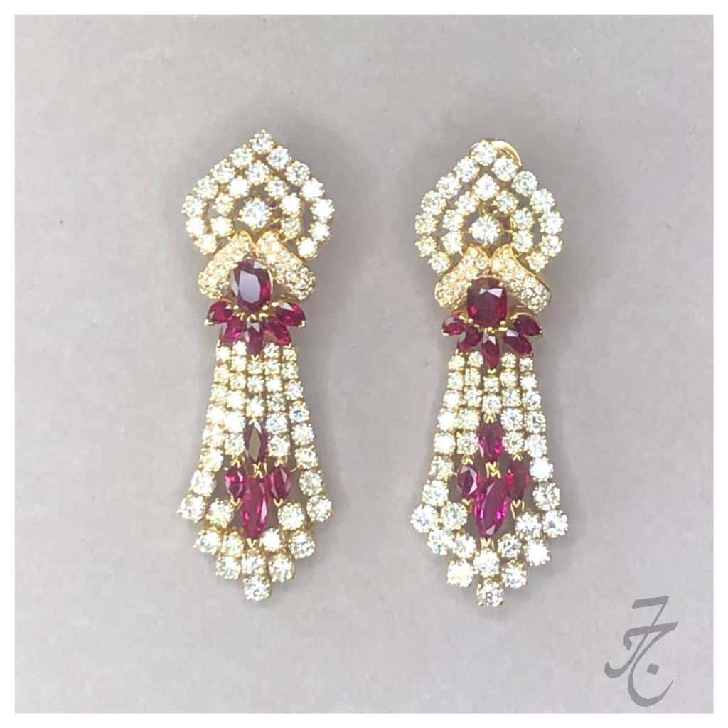 dazzling diamonds and Siam rubies earring