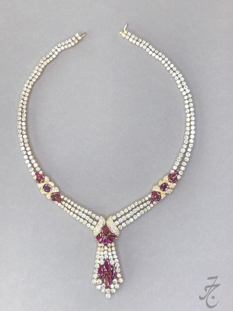 dazzling diamonds and Siam rubies necklace