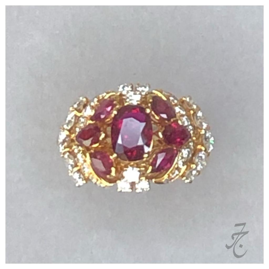 diamonds and Siam rubies ring