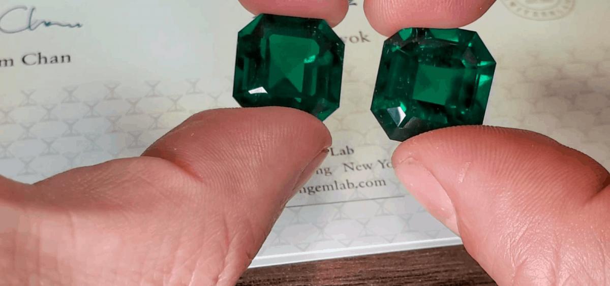 emerald-cut Colombian emeralds