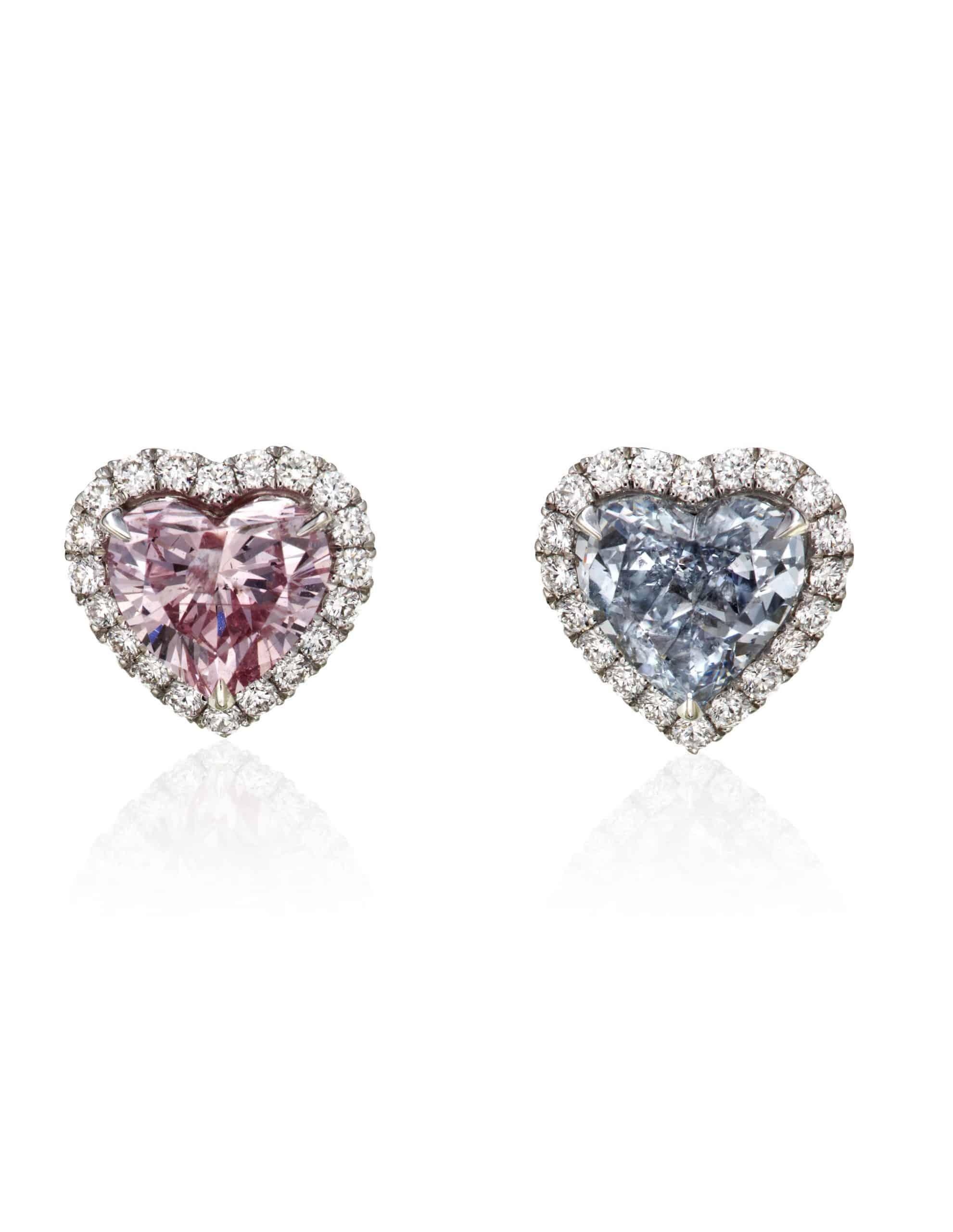 HEART-SHAPED COLOREDDIAMOND AND DIAMOND EARRINGS