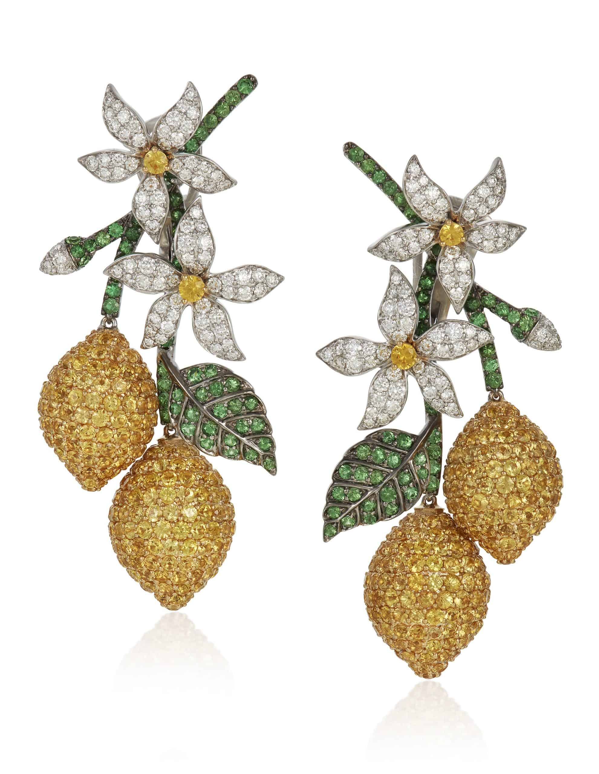 MICHELE DELLA VALLE, YELLOW SAPPHIRE, TSAVORITE GARNET AND DIAMOND EARRINGS