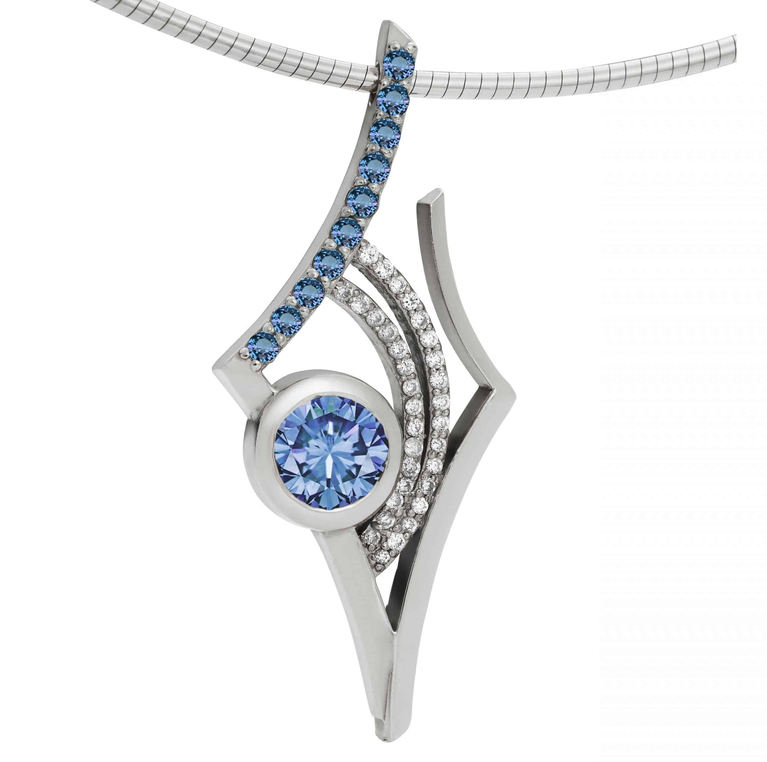 Martha Seely - Antares O - pendant blue and white topaz