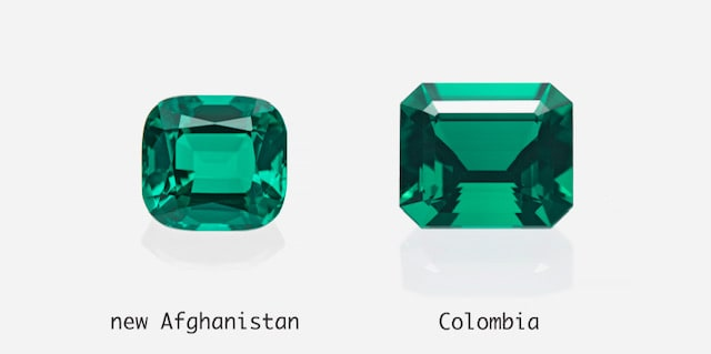 emerald type from Afghanistan (left), emerald from Colombia