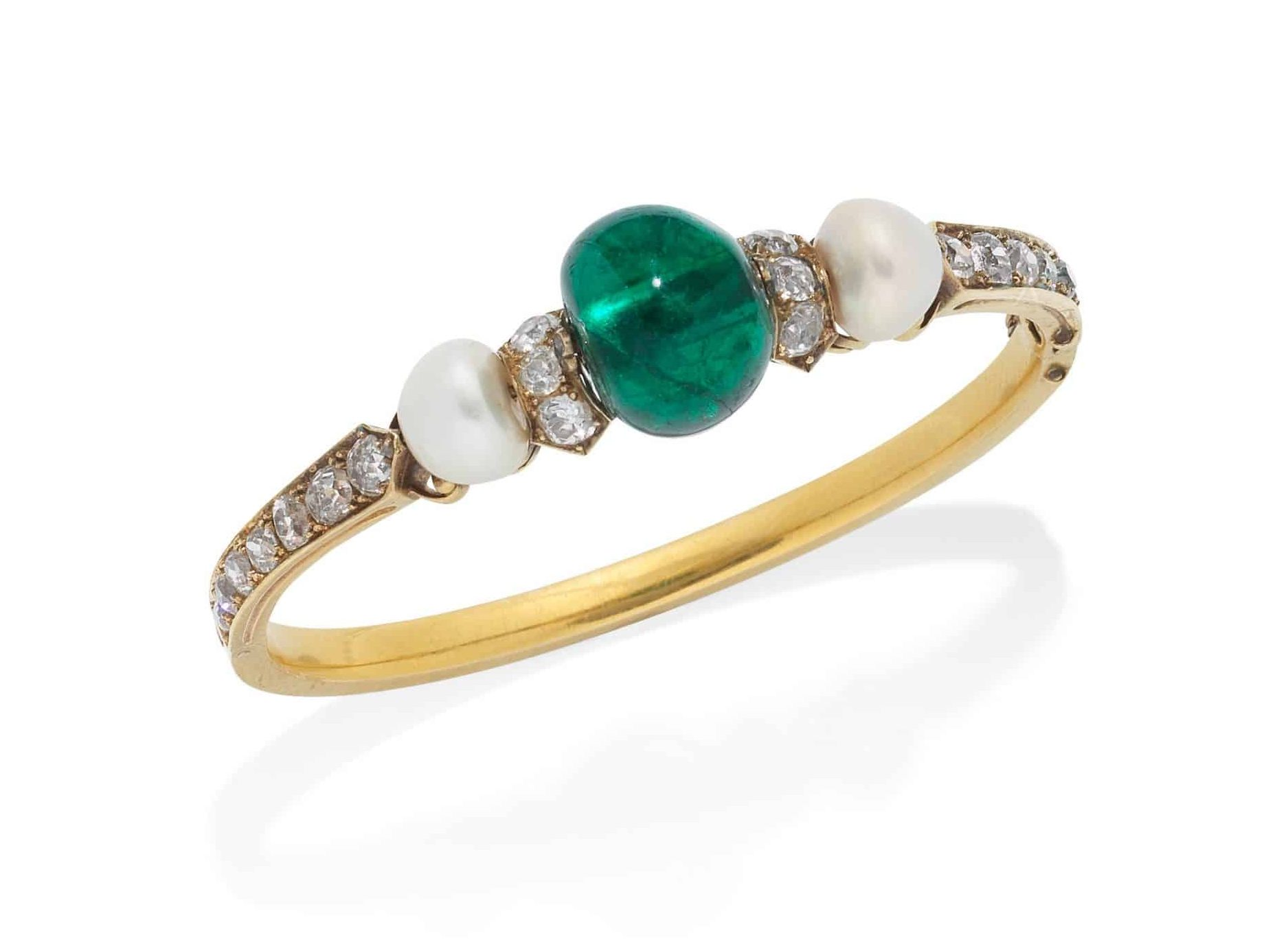 Emerald, Pearl and Diamond Bangle