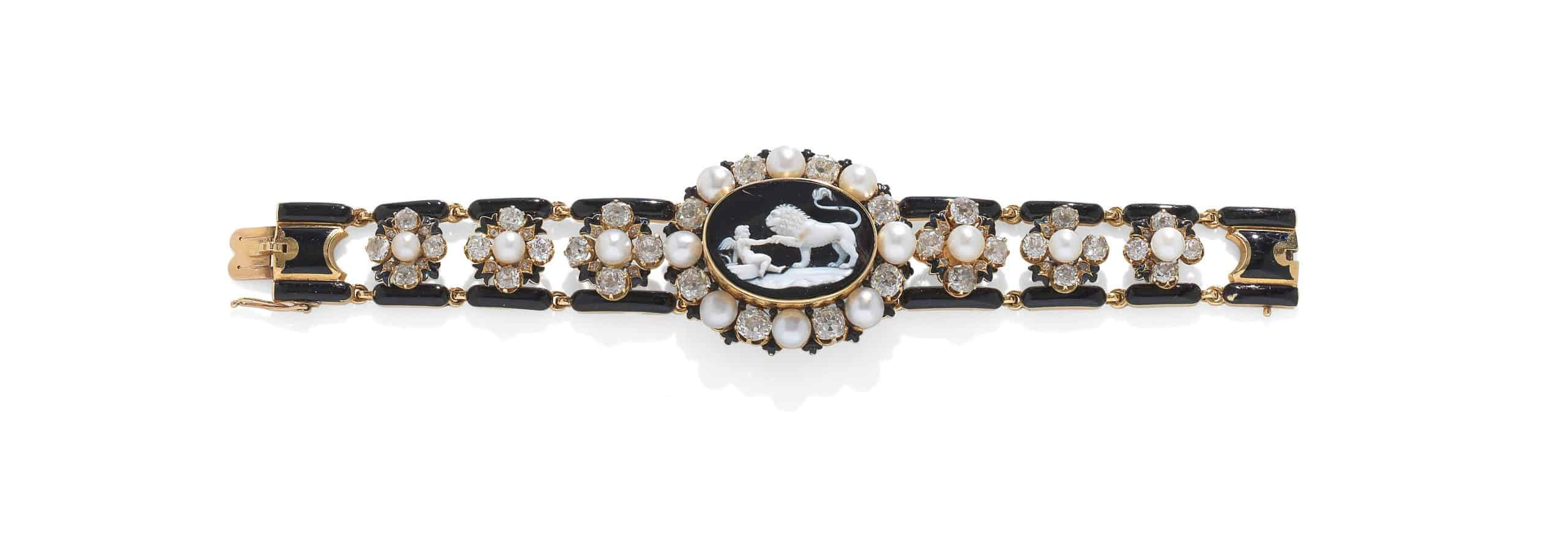 19thCentury Onyx Cameo, Enamel, Pearl and Diamond Bracelet