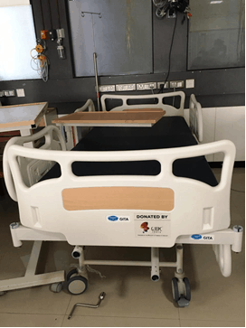 A hospital bed donated by GJEPC