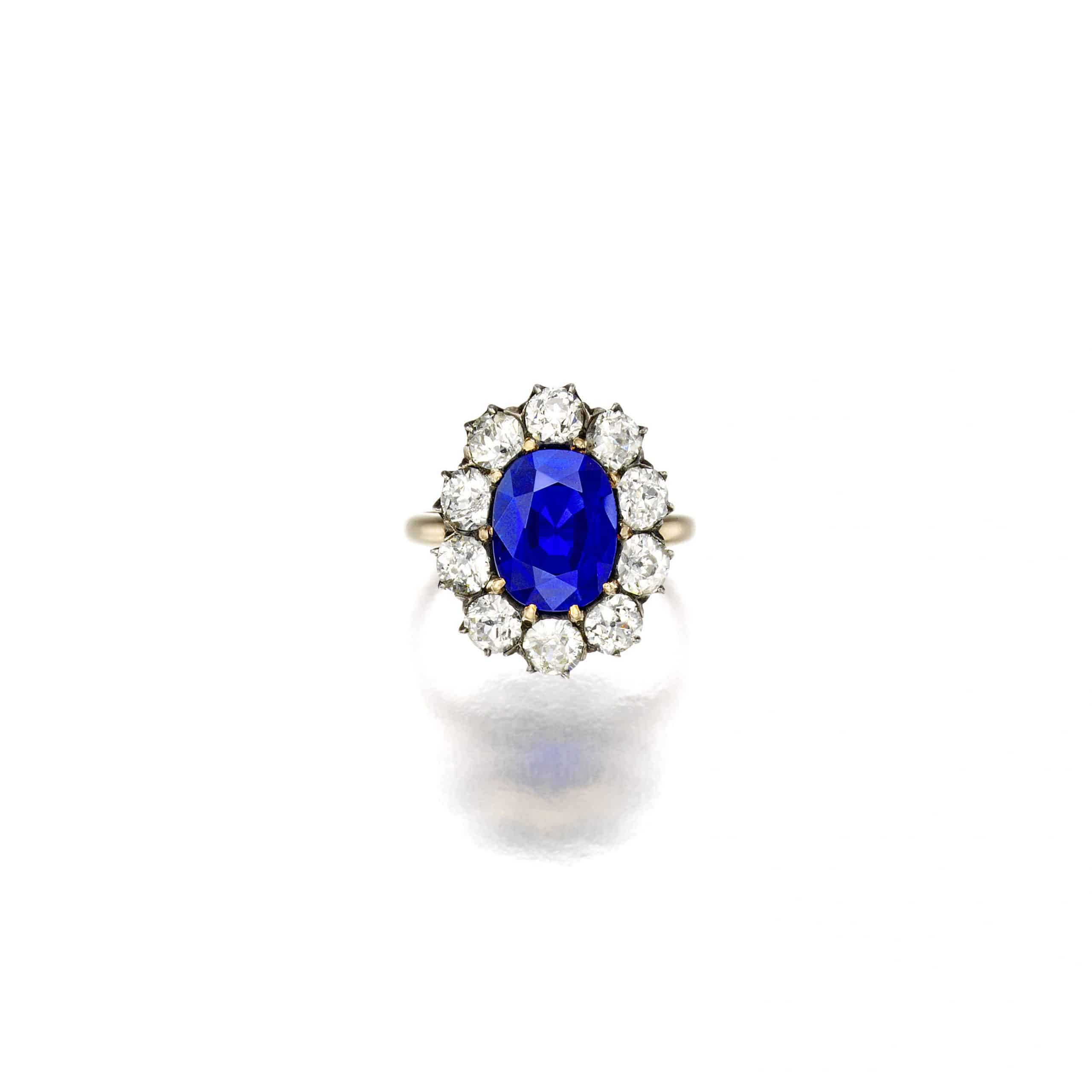 A Kashmir Sapphire and Diamond Ring, late 19th century
