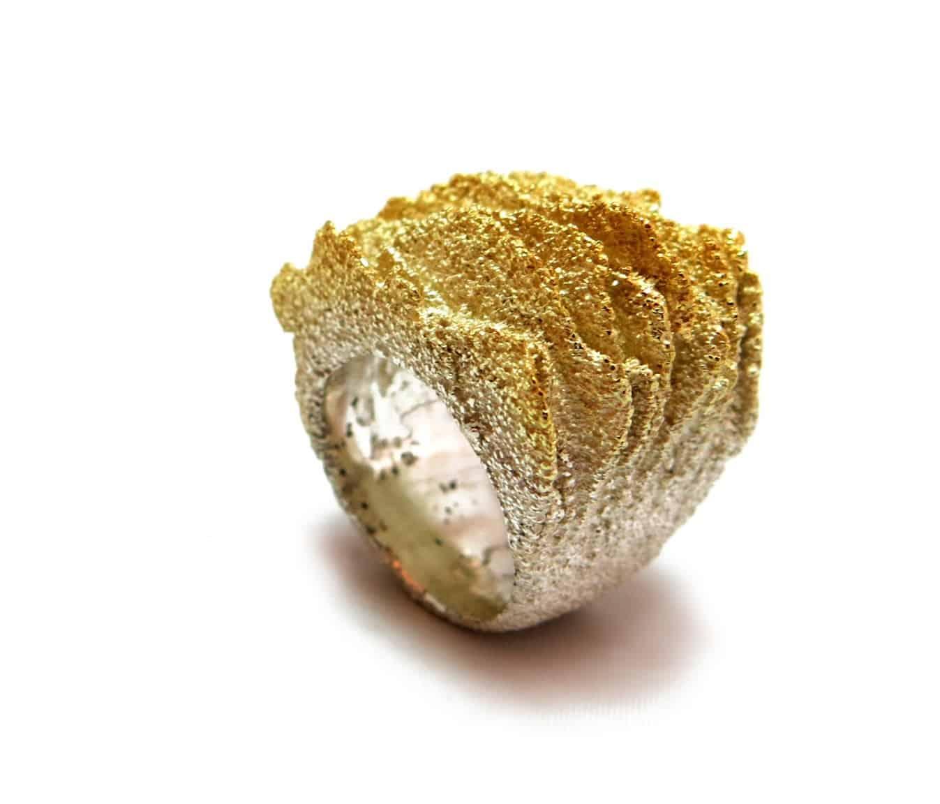 Limestone and silver ring by Cecilia Ribeiro