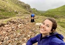Julia fossicking for goethite in Cornwall