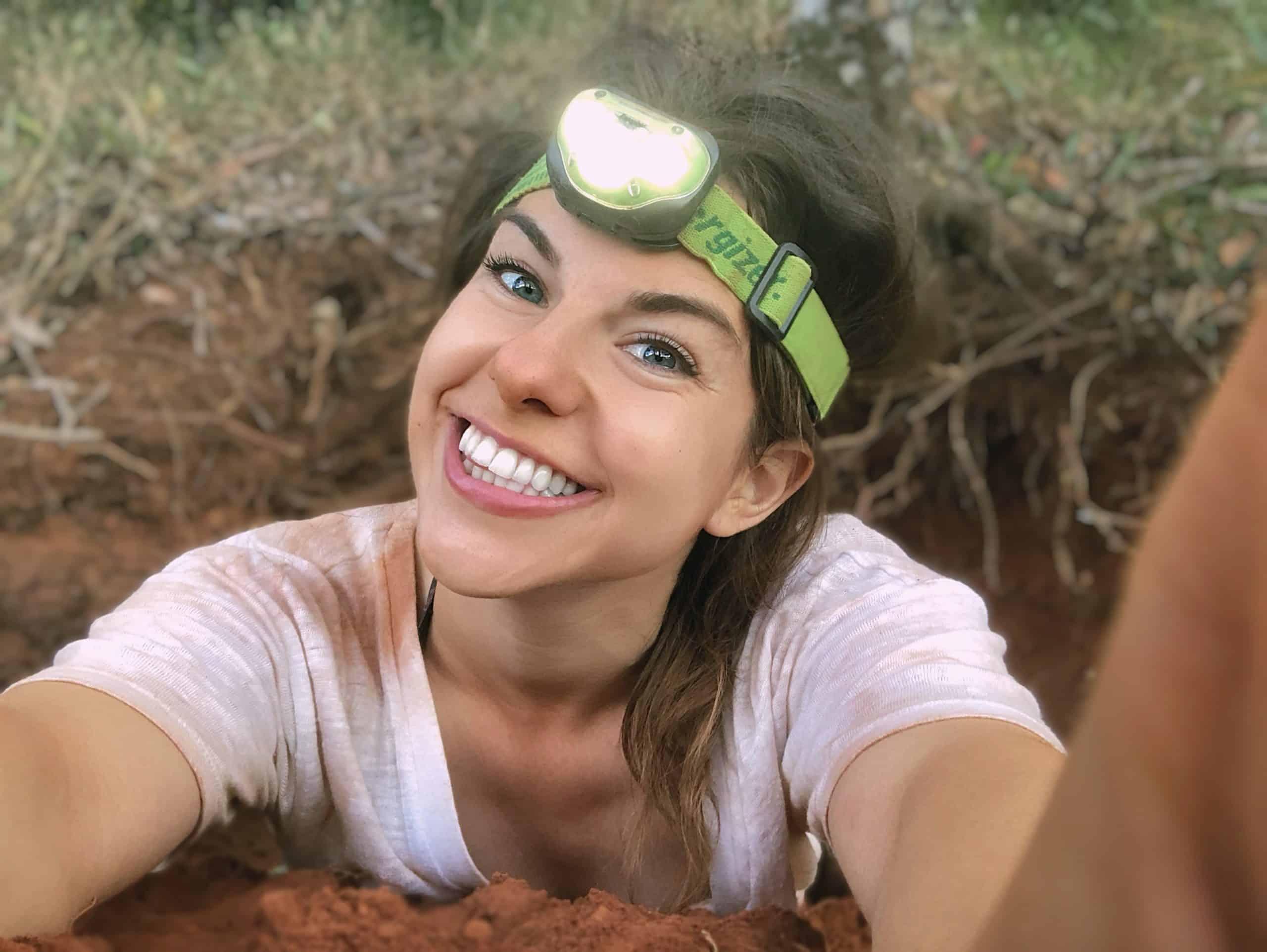 Julia fossicking for quartz in Australia