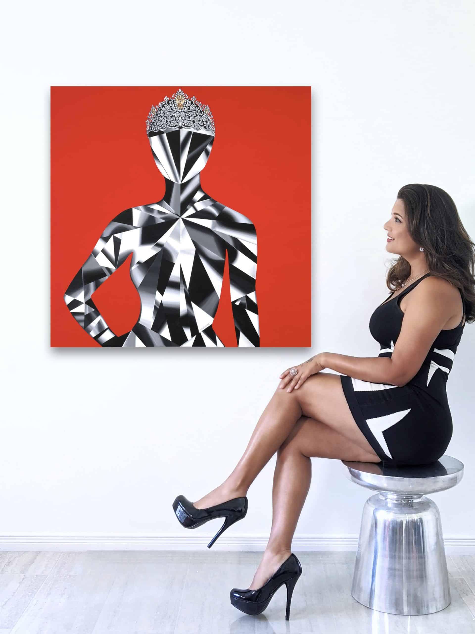 Reena 1 Mouawad Power of Unity painting by Reena Ahluwalia_Miss Universe Crown