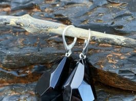 Freeform faceted Whitby jet drop earrings