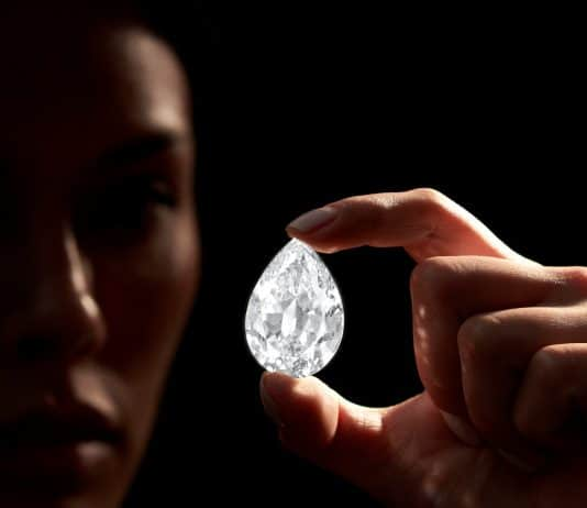 101.38-carat pear-shaped D Flawless diamond
