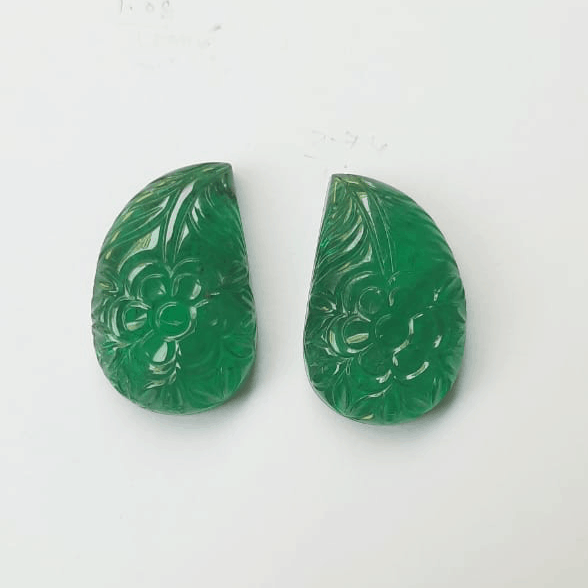 Hand-carved Zambian emeralds