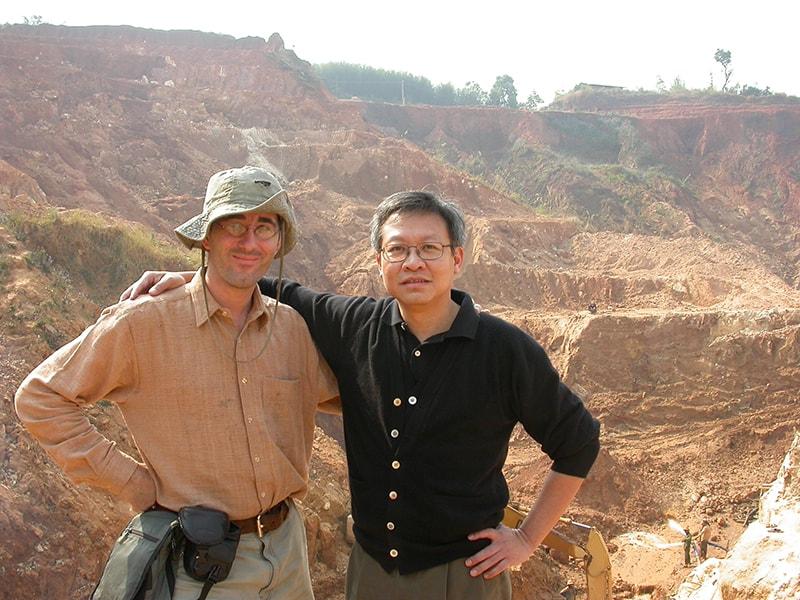Vincent Pardieu (left) with Henry Ho visiting Mogok in 2004.