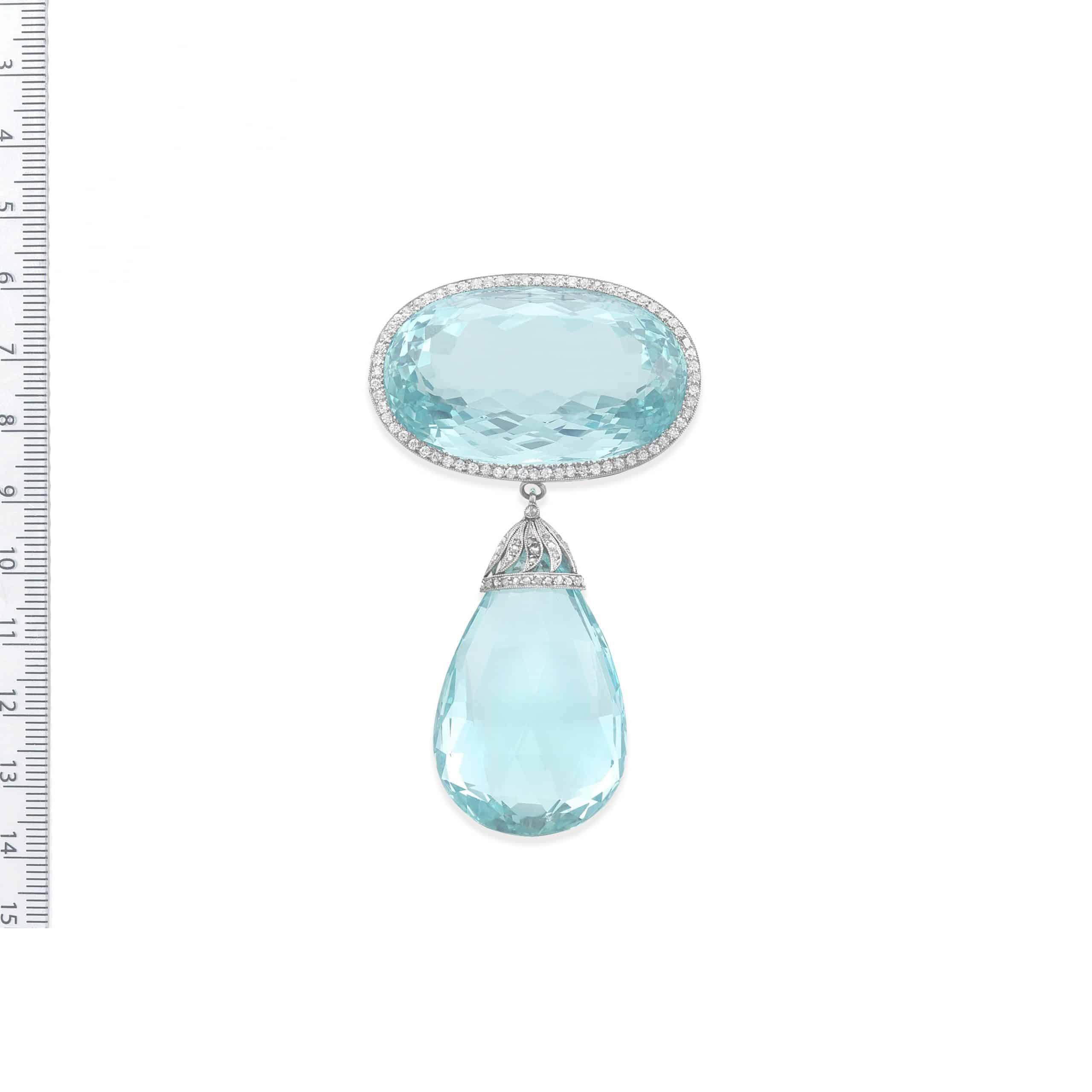 A Belle Époque aquamarine and diamond brooch