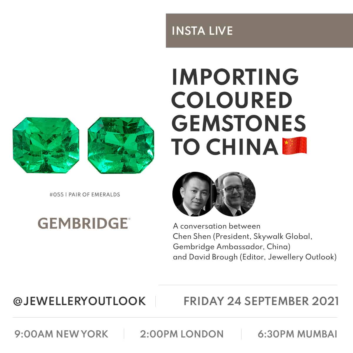 """Insta Live @jewelleryoutlook about """"Importing Coloured Gemstones to China"""""""