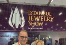 Sermin Cengiz, Founding Partner, Istanbul Jewelry Show, with Jewellery Outlook Editor David Brough